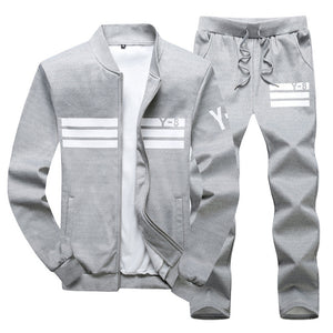 New Men's Sportswear Jackets + pants Clothing Sets (runs small)-sportswear-Love My Husband Shop-Gray-M-Love My Husband Shop