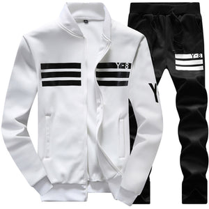 New Men's Sportswear Jackets + pants Clothing Sets (runs small)-sportswear-Love My Husband Shop-White-M-Love My Husband Shop