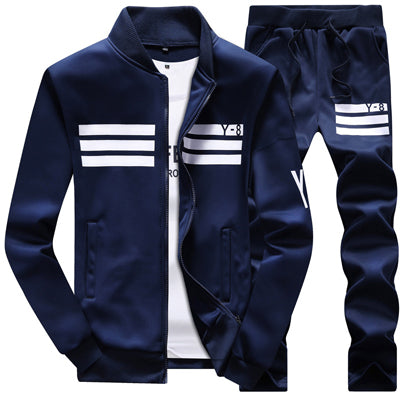 New Men's Sportswear Jackets + pants Clothing Sets (runs small)-sportswear-Love My Husband Shop-Navy Blue-M-Love My Husband Shop