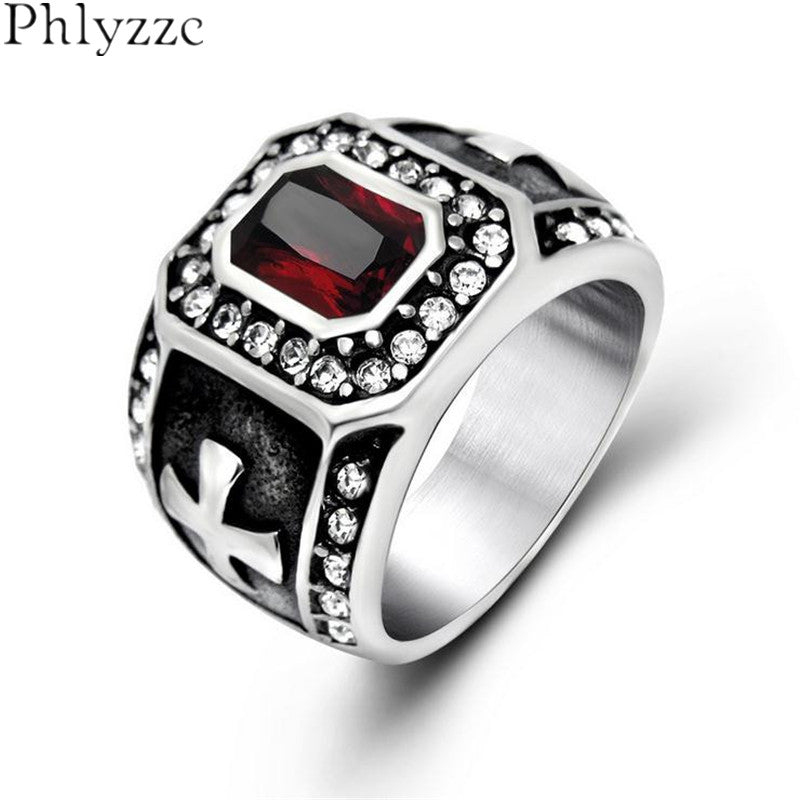 Cool Big Black Red Cubic Zirconia Rings For Men Goth Cross Men Pave Ring Stainless Steel Christian Jewelry Luxury Male Anel R513-Love My Husband Shop-Love My Husband Shop