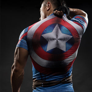 Captain America 3D Compression T-Shirts-T-Shirts-Love My Husband Shop-JSYD05-S-Love My Husband Shop