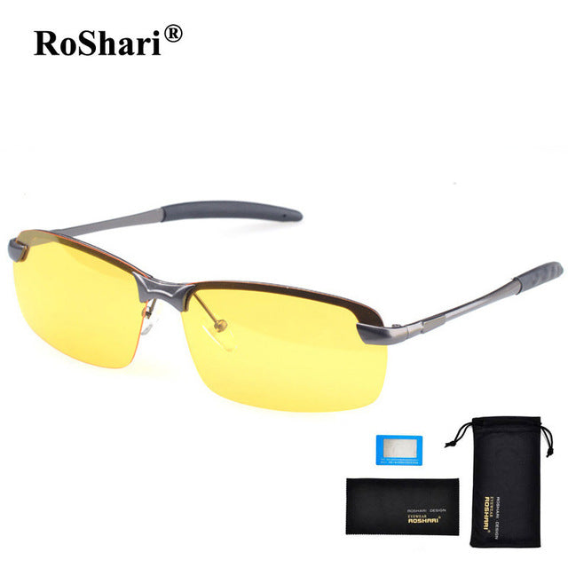 RoShari Men's Car Drivers Night Vision Goggles-sunglasses-Men Fit Beyond 40-Grey and Yellows-Love My Husband Shop