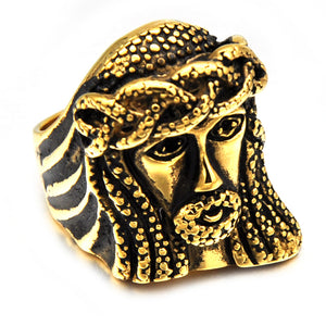 HIP JESUS Piece Rings Gold Color Vintage Stainless Steel Ring for Men Christian Jewelry-Love My Husband Shop-Love My Husband Shop