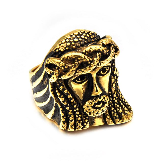 HIP JESUS Piece Rings Gold Color Vintage Stainless Steel Ring for Men Christian Jewelry-Love My Husband Shop-10-Gold-Love My Husband Shop