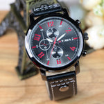 Hot Men's Sports Quartz Watches Mens Watches Luxury Leather Wristwatches-watch-Love My Husband Shop-Black-Love My Husband Shop