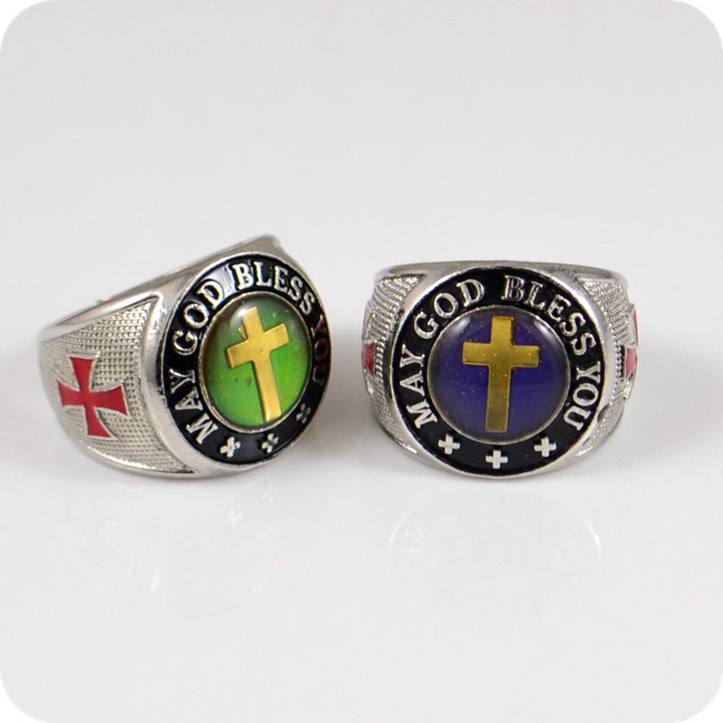 6x MAY GOD BLESS YOU Changing Color Cross Zinc Alloy Rings Fashion Christian Religious Jewelry-Love My Husband Shop-Love My Husband Shop