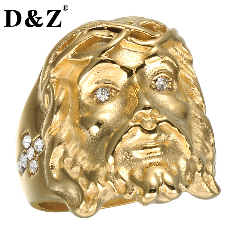 D&Z Hiphop Iced Out Men Jesus Ring Gold Color Paving CZ Stainless Steel Christian Jesus Rings for Religion Jewelry-Love My Husband Shop-Love My Husband Shop