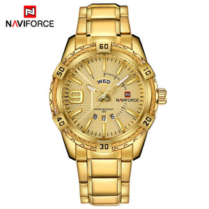 NAVIFORCE Waterproof Quartz Watch for Men. Military Style Stainless Steel Sports Watches.-watch-Men Fit Beyond 40-Gold-Love My Husband Shop