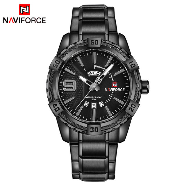 NAVIFORCE Waterproof Quartz Watch for Men. Military Style Stainless Steel Sports Watches.-watch-Men Fit Beyond 40-Black Gray-Love My Husband Shop