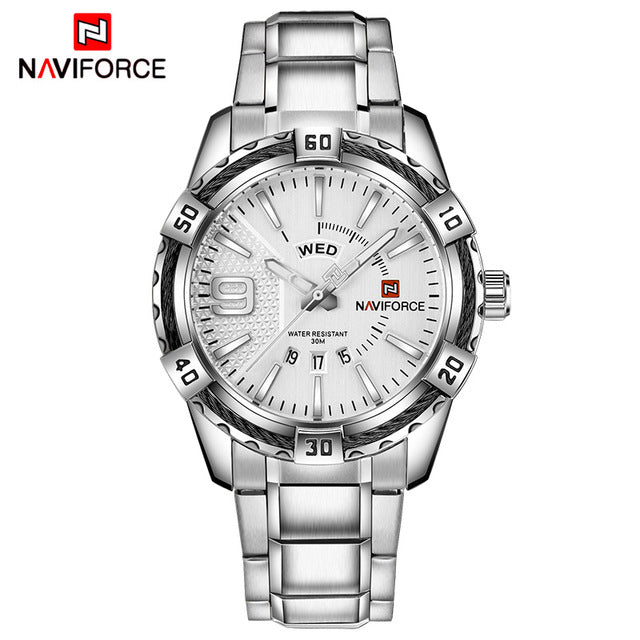 NAVIFORCE Waterproof Quartz Watch for Men. Military Style Stainless Steel Sports Watches.-watch-Men Fit Beyond 40-Silver White-Love My Husband Shop