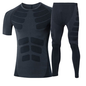 Quick Dry Men's 2 pieces/sets Compression Sports Suits-sportswear-Love My Husband Shop-60036020 black-China-Asian L-Love My Husband Shop