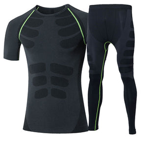Quick Dry Men's 2 pieces/sets Compression Sports Suits-sportswear-Love My Husband Shop-60036020 green-China-Asian L-Love My Husband Shop