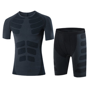 Quick Dry Men's 2 pieces/sets Compression Sports Suits-sportswear-Love My Husband Shop-60036004 black-China-Asian L-Love My Husband Shop