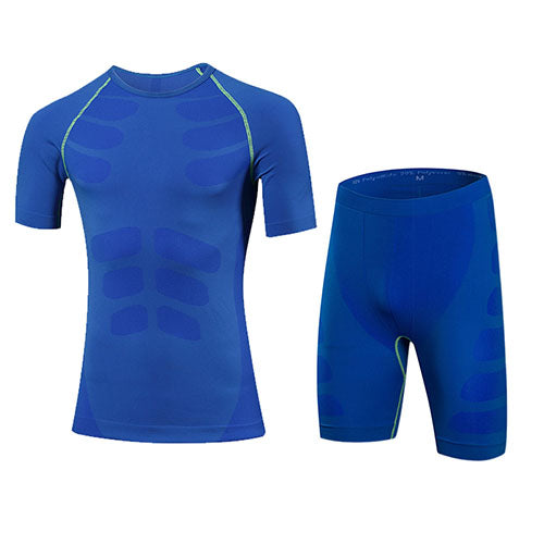 Quick Dry Men's 2 pieces/sets Compression Sports Suits-sportswear-Love My Husband Shop-60036004 blue-China-Asian L-Love My Husband Shop