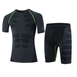 Quick Dry Men's 2 pieces/sets Compression Sports Suits-sportswear-Love My Husband Shop-60036004 green-China-Asian L-Love My Husband Shop