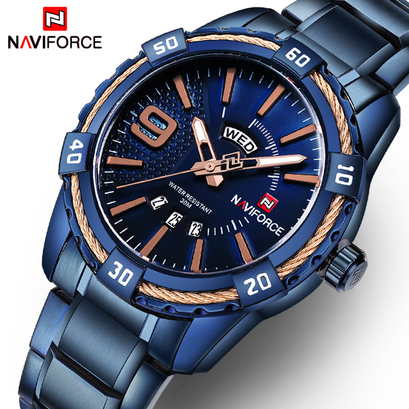 NAVIFORCE Waterproof Quartz Watch for Men. Military Style Stainless Steel Sports Watches.-watch-Men Fit Beyond 40-Love My Husband Shop