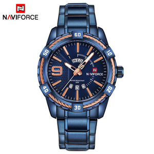 NAVIFORCE Waterproof Quartz Watch for Men. Military Style Stainless Steel Sports Watches.-watch-Men Fit Beyond 40-Bule-Love My Husband Shop