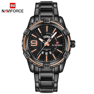 NAVIFORCE Waterproof Quartz Watch for Men. Military Style Stainless Steel Sports Watches.-watch-Men Fit Beyond 40-Black God-Love My Husband Shop