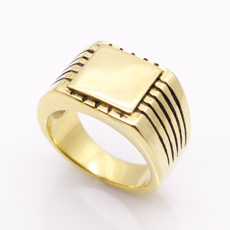 Rings for Men - High Polished Solid Stainless Steel Gold-ring-Panoramic Art-Love My Husband Shop