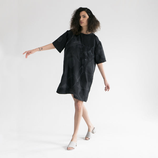 Marbled Silk T-Shirt Dress