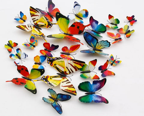 12pcs DIY Colorful 3D Butterfly Wall Art PVC Paper Decor For Kids Living  Room Kitchen Home ...