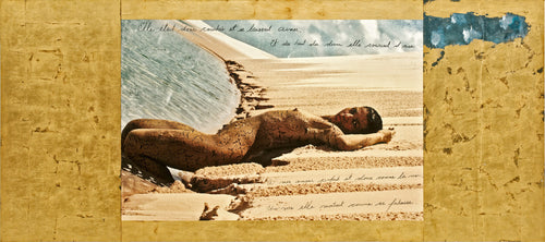 Charles Bodelaire poem on a mixed media painting with gold leaf in brazil lençóis maranhenses dunes and lagoas with thai design on nude body by Daniel Stanford Artist limited edition signed print