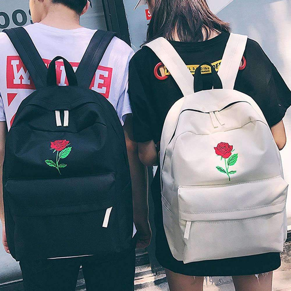 Men Canvas Heart Backpack Cute Women Rose  Backpacks