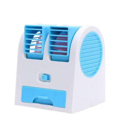 Ahmed Blue Mini Small Fan Cooling Portable Desktop Dual Bladeless Air Conditioner USB NEW