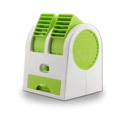 Ahmed Green Mini Small Fan Cooling Portable Desktop Dual Bladeless Air Conditioner USB NEW