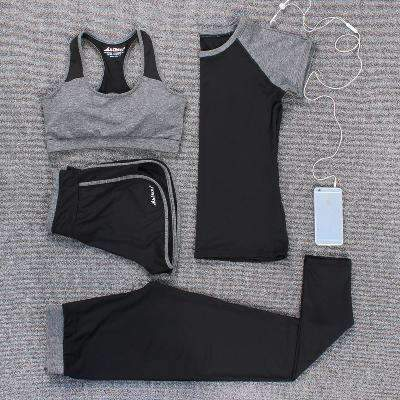 Ahmed grey 4 piece / M Verzy 2017 Yoga Set Women Fitness Running Exercise Sport Bra+Pants+Shirt+Coat+Shorts+Vest 3colors Breathable Push up Sports suit