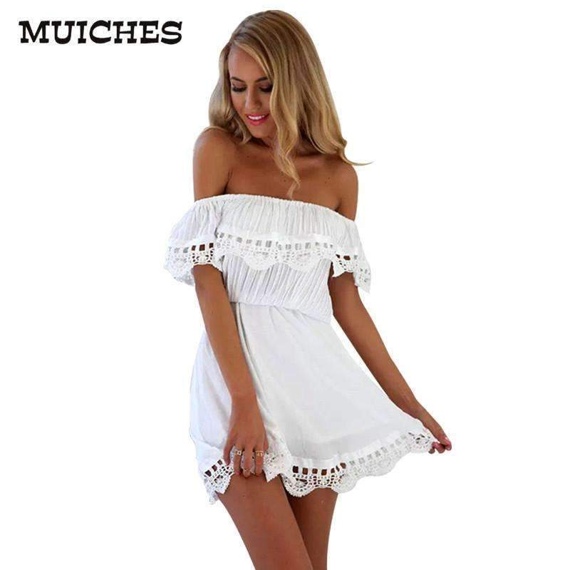 Ahmed MUICHES Fashion women Elegant Vintage sweet lace white Dress stylish sexy slash neck casual slim beach Summer Sundress vestidos