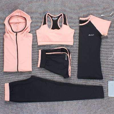 Ahmed pink 5 piece / M Verzy 2017 Yoga Set Women Fitness Running Exercise Sport Bra+Pants+Shirt+Coat+Shorts+Vest 3colors Breathable Push up Sports suit