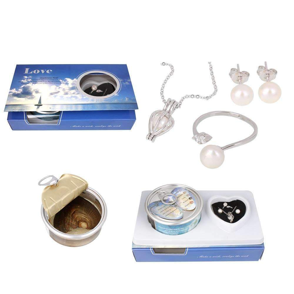Ahmed Silver Pearl Necklace in a Shell Box
