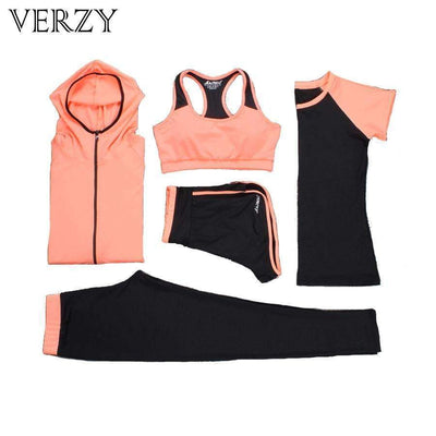 Ahmed Verzy 2017 Yoga Set Women Fitness Running Exercise Sport Bra+Pants+Shirt+Coat+Shorts+Vest 3colors Breathable Push up Sports suit