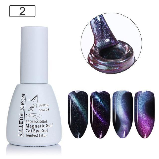 BORN PRETTY 3D Chameleon Cat Eye Magnetic Gel Soak Off UV Gel Nail Art