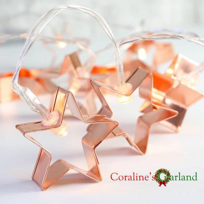 My Envy Shop 20 Copper Star Cookie Cutter Battery Powered String Lights  Decoration