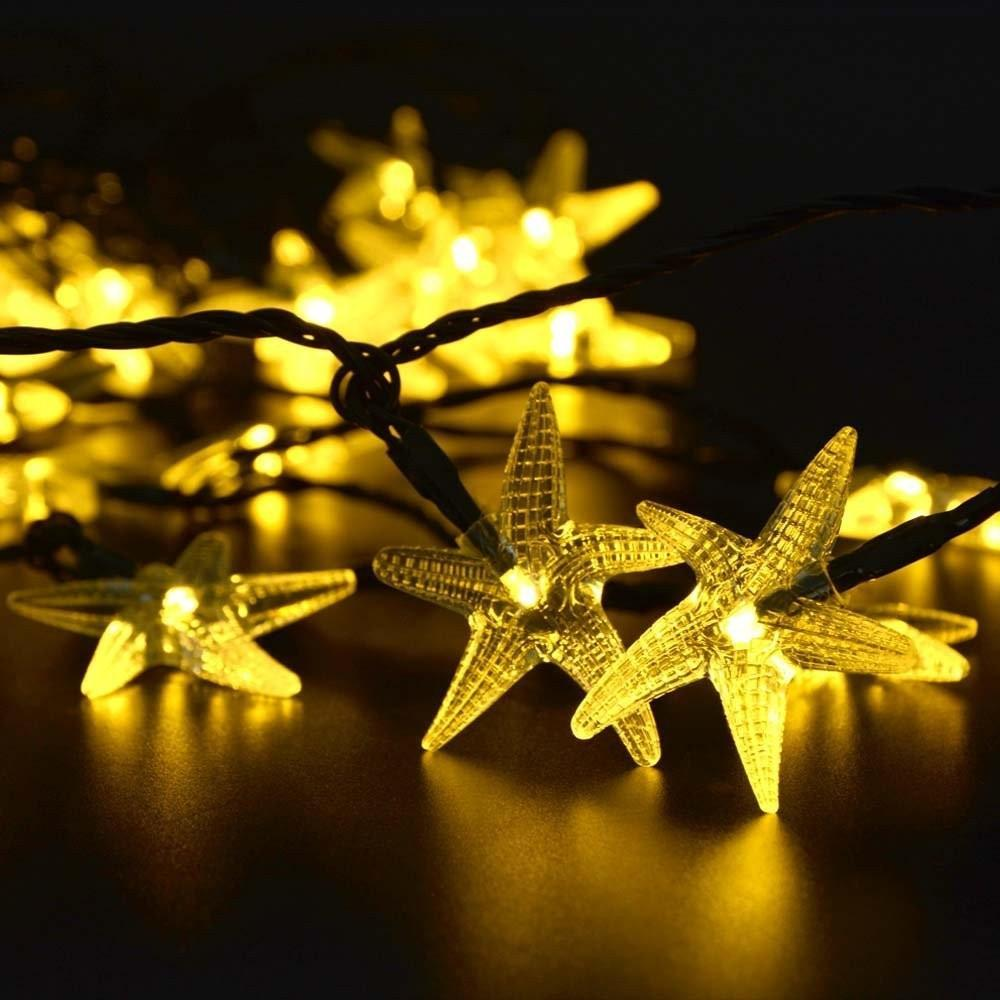 2m 20 led string lights battery operated sea star shaped indoor outdoo