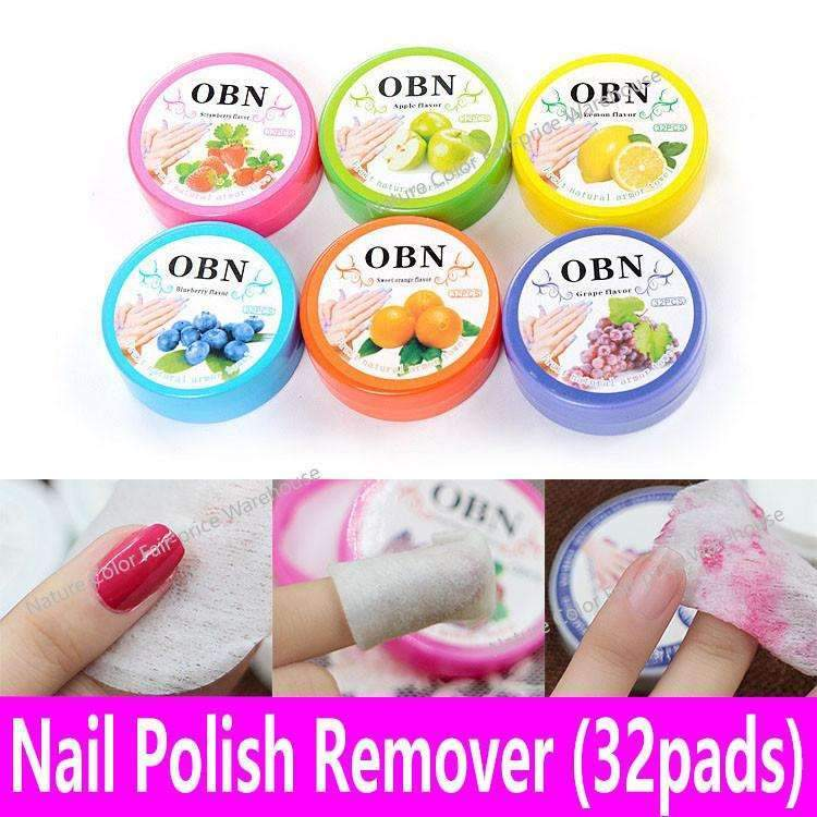 32pads Nail Polish Remover Box Fruit Scented Flavor Wraps Paper Cloth