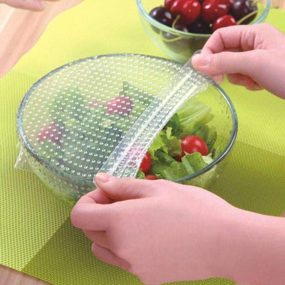 My Envy Shop 4pcs Kitchen Tools Reusable Silicone Food Wraps Seal Vacuum Cover Lid Stretch