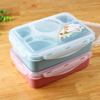 My Envy Shop 5 plus 1 Sealed Microwaveable Lunchbox withspoon bento box For kids School Office with simplicity fresh style
