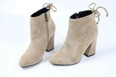 My Envy Shop Apricot / 11 Flock Ankle Boots Round Toe Winter