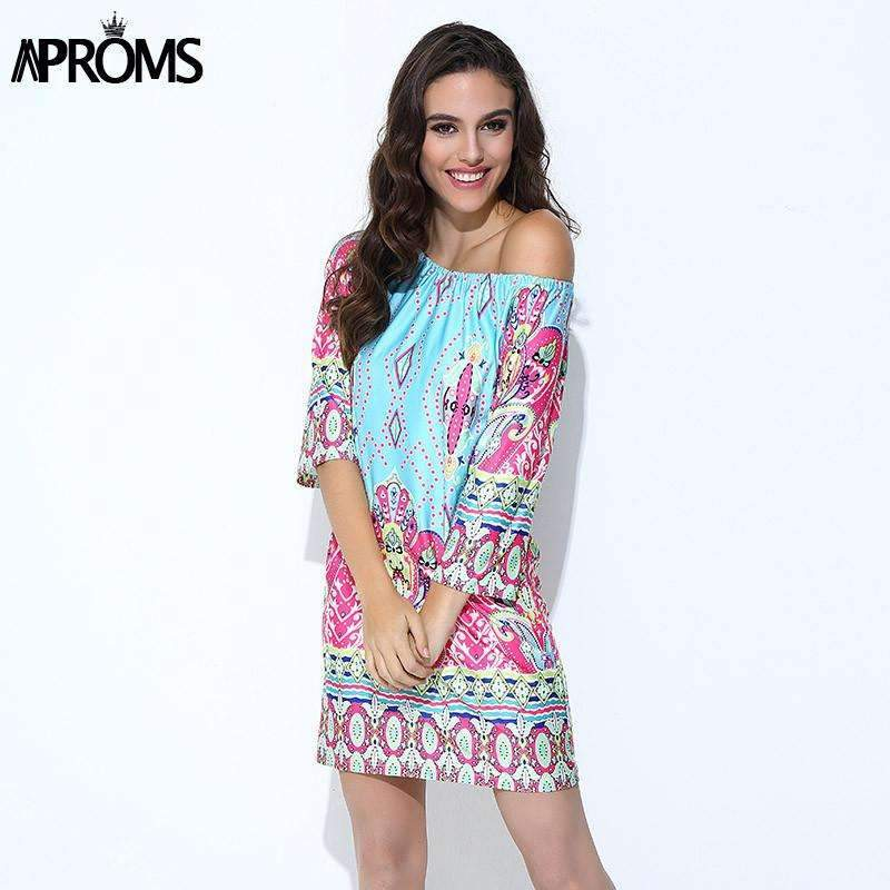 My Envy Shop Aproms Bohemian Elegant Women Summer Dress Boho 2017 Off Shoulder Beach Tunic Dresses Sundress European Sexy Vestidos Mujer