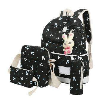 4 Pcs Set Women Backpacks Cute Cat School Bags For Teenage Girls Print