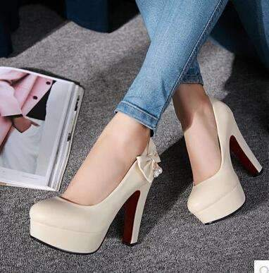 My Envy Shop Beige / 4 high heels with high-heeled shoes with butterfly knot diamond