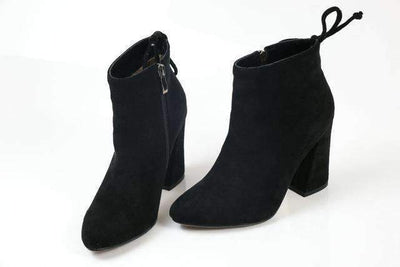 My Envy Shop Black / 11 Flock Ankle Boots Round Toe Winter