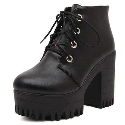 My Envy Shop black / 4.5 Black High Heels Boots Lacing Platform Ankle Boots Chunky