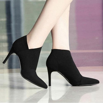 My Envy Shop Black / 4.5 Pointed Toe High Heels Ankle Boots
