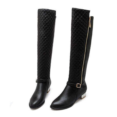 My Envy Shop Black / 4 Knee High PU Zip Buckle Low Square Heel