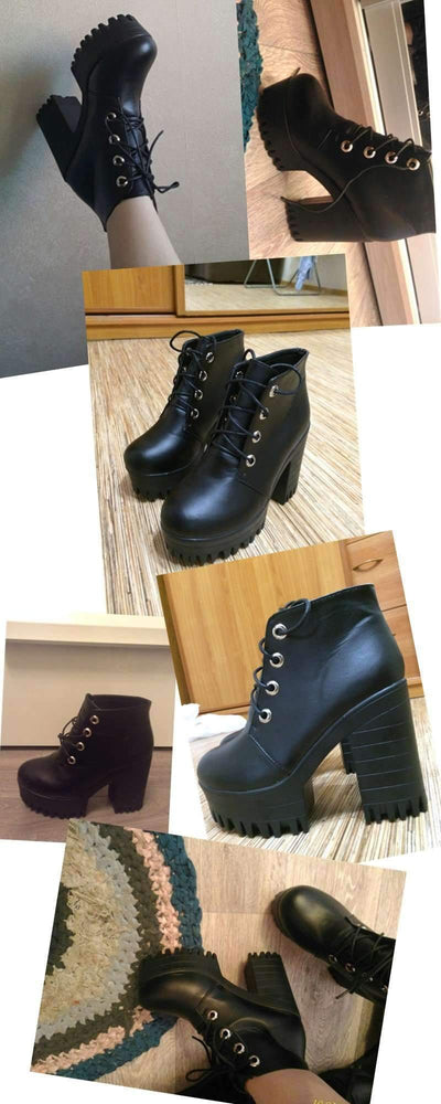 My Envy Shop Black High Heels Boots Lacing Platform Ankle Boots Chunky