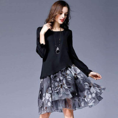My Envy Shop Black / L Autumn Female Sweet Party Dresses Vestido Clothing